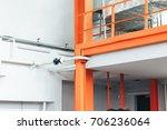 warehouse interior with orange...   Shutterstock . vector #706236064
