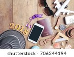 equipment travel accessories is ... | Shutterstock . vector #706244194