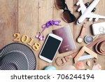 equipment travel accessories is ... | Shutterstock . vector #706244194
