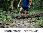 athletic runner running on...   Shutterstock . vector #706248934