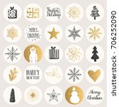 set of christmas stickers. hand ... | Shutterstock .eps vector #706252090