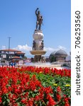 Small photo of Skopje, Macedonia - 1 June, 2017: Giant Statue of Philip of Macedon, this 29-metre tall bronze statue of the ancient warrior king, was located in the heart of the Macedonian capital Skopje.