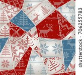 christmas seamless colorful... | Shutterstock .eps vector #706255783