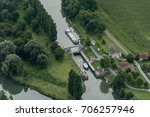 Small photo of aerial view of bots in a sluice in the department of Oise in France