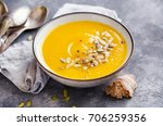 bowl of squash soup with basil... | Shutterstock . vector #706259356