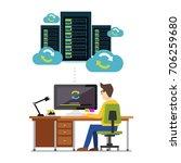 database synchronize technology.... | Shutterstock .eps vector #706259680