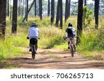 travelers cycling tour along... | Shutterstock . vector #706265713