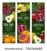 fruits banners for fresh... | Shutterstock .eps vector #706268680