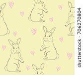 rabbit pattern  vector ... | Shutterstock .eps vector #706270804