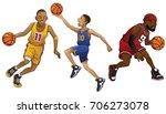 cartoon of basketball players... | Shutterstock .eps vector #706273078