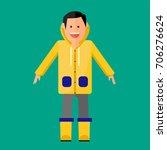 man wearing raincoat flat icon | Shutterstock .eps vector #706276624