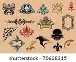 set of royal heraldic elements...