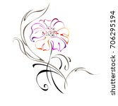 stylized flower with leaves on... | Shutterstock .eps vector #706295194