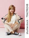 portrait of girl in pink... | Shutterstock . vector #706298248