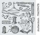 different tools for sewing... | Shutterstock .eps vector #706299478