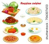 illustration set of russian... | Shutterstock . vector #706307653