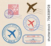decorative colored stamps and... | Shutterstock .eps vector #706308928