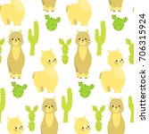 seamless pattern with lamas and ... | Shutterstock .eps vector #706315924