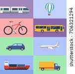 means of transport flat design | Shutterstock .eps vector #706321294