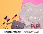 autumn arrives. fashion lady... | Shutterstock . vector #706324060