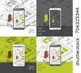 mobile gps and tracking concept.... | Shutterstock .eps vector #706325344