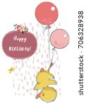cute duck with balloons | Shutterstock .eps vector #706328938