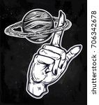 flash astronomy. human hand ... | Shutterstock .eps vector #706342678