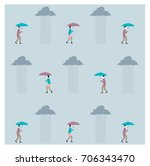 pattern rainy day umbrella... | Shutterstock .eps vector #706343470