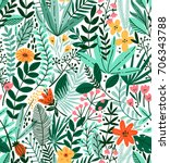 tropical seamless floral...   Shutterstock .eps vector #706343788