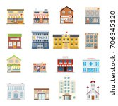 city street building shops real ... | Shutterstock .eps vector #706345120