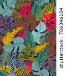 tropical seamless pattern with... | Shutterstock .eps vector #706346104