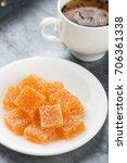 homemade orange marmalade candy....   Shutterstock . vector #706361338