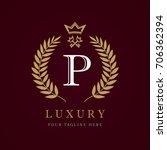 luxury calligraphic letter p... | Shutterstock .eps vector #706362394