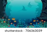 underwater sea with colorful... | Shutterstock .eps vector #706363039
