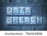 Small photo of data breach made from metallic letterpress blocks on the pc board background