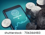 smartphone with ethereum growth ... | Shutterstock . vector #706366483