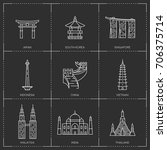 Asian landmarks. The collection include Japan, South Korea, Singapore, Indonesia, China, Vietnam, Malaysia, India and Thailand famous buildings and monuments.  | Shutterstock vector #706375714