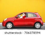 authentic santa claus driving... | Shutterstock . vector #706378594