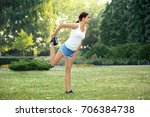 morning of young sporty woman... | Shutterstock . vector #706384738