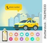 mobile app taxi.  taxi service. ... | Shutterstock .eps vector #706390333