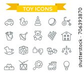 toys icon set  thin line  flat...