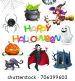 Happy Halloween. Pumpkin, spider, cat, witch, vampire, crypt and lettering, 3d vector icon set