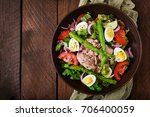 salad with tuna  tomatoes ... | Shutterstock . vector #706400059