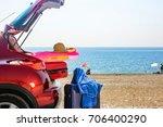 summer car on beach  | Shutterstock . vector #706400290
