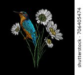 kingfisher and chamomile... | Shutterstock .eps vector #706405474
