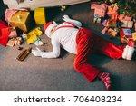 overhead view of drunk bad...   Shutterstock . vector #706408234