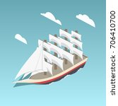 vintage sailing ship colorful... | Shutterstock .eps vector #706410700