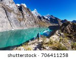 hiking scene in cordillera... | Shutterstock . vector #706411258