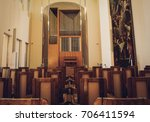 BRATISLAVA, SLOVAKIA - AUGUST 10, 2017: Interior of concert hall with organ pipes - stock photo