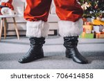 cropped shot of santa claus in... | Shutterstock . vector #706414858